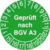 Pr�fplakette - Gepr�ft nach BGV A3 15-20
