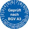 Prüfplakette - Geprüft nach BGV A3 16-21