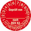 Prüfplakette Geprüft von_ nach BGV A3 17