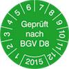 Pr�fplakette Gepr�ft nach BGV D8 2015