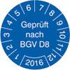 Prüfplakette Geprüft nach BGV D8 2016