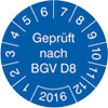 Pr�fplakette Gepr�ft nach BGV D8 2016