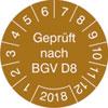 Pr�fplakette Gepr�ft nach BGV D8 2018