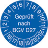 Pr�fplakette Gepr�ft nach BGV D27 16-21