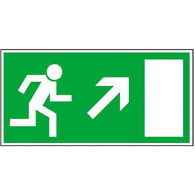 Fluchtwegschild - langnachleuchtend Rettungsweg rechts aufwärts