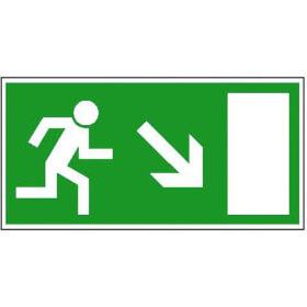 Fluchtwegschild - langnachleuchtend Rettungsweg rechts abwärts