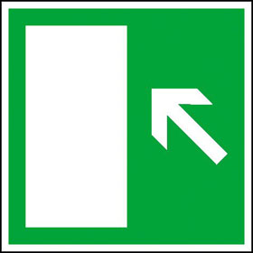 Rettungsschild Rettungsweg links Treppe aufwärts / rechts Treppe abwärts