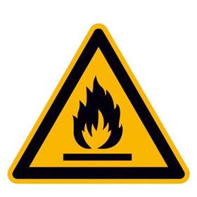 Warnschild Warnung vor feuergefährlichen Stoffen