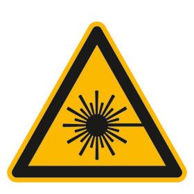 Warnschild auf Bogen Warnung vor Laserstrahl