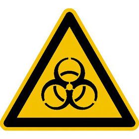 Warnschild auf Bogen Warnung vor Biogefährdung