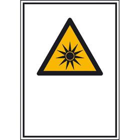 Warn-Kombischild mit einem Warn-Lagerschild, Folie, SL 20,0 cm, Warnung vor optischer Strahlung,