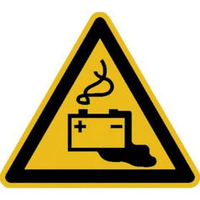 Warnschild Warnung vor Gefahren durch das Aufladen von Batterien