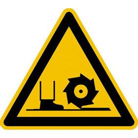 Warnschild auf Bogen Warnung vor Fräswelle