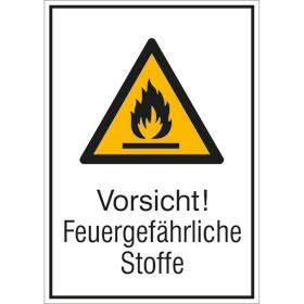 Warn-Kombischild Vorsicht! Feuergefährliche Stoffe