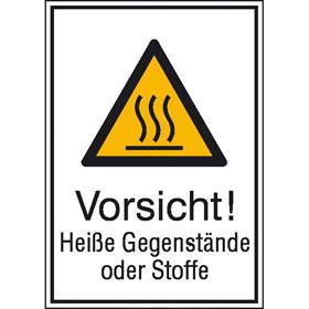Warn-Kombischild Vorsicht! Heiße Gegenstände oder Stoffe