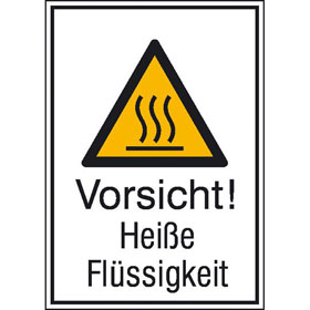 Warn-Kombischild Vorsicht! Heiße Flüssigkeit