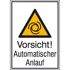 Warn-Kombischild Vorsicht! Automatischer Anlauf