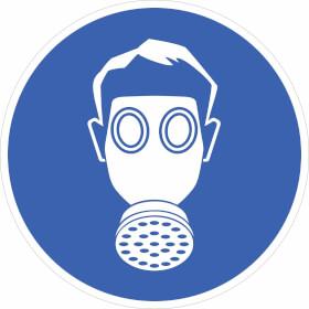 Gebotsschild auf Bogen Atemschutz benutzen