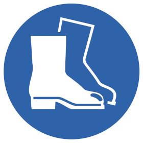 Gebotsschild auf Bogen Fußschutz benutzen