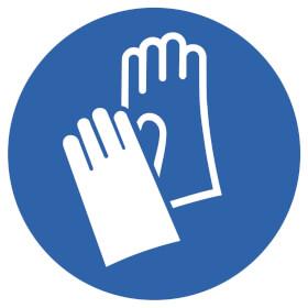 Gebotsschild auf Bogen Handschutz benutzen
