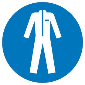 Gebotsschild auf Bogen Schutzkleidung benutzen