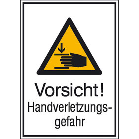 Warn-Kombischild Vorsicht! Handverletzungsgefahr