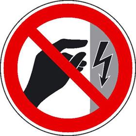 Verbotsschild auf Rolle Nicht berühren, Gehäuse unter Spannung