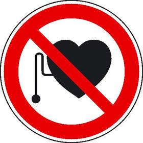 Verbotsschild Verbot für Personen mit Herzschrittmacher