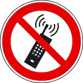 Verbotsschild Eingeschaltete Mobiltelefone verboten