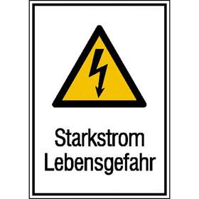 Warn-Kombischild Starkstrom Lebensgefahr