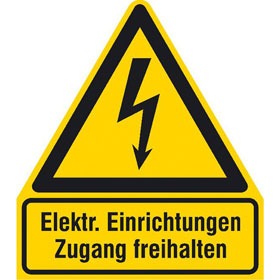 Warn-Kombischild Elektrische Einrichtungen Zugang freihalten