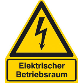 Warn-Kombischild Elektrischer Betriebsraum
