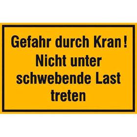Hinweisschild zur Baustellenkennzeichnung Gefahr durch Kran!