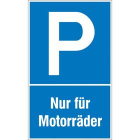 Parkplatzschild Symbol: P, Text: Nur für Motorräder