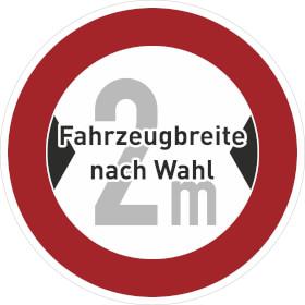 Verkehrsschild - Betriebskennzeichnung Verbot für Fahrzeuge über bestimmte Breite