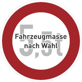 Verkehrszeichen - StVO Verbot für Fahrzeuge über bestimmtem Gewicht
