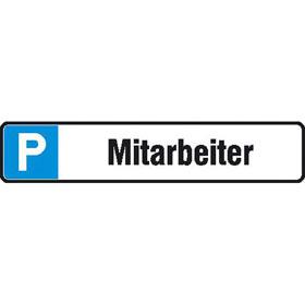 Parkplatzschild Symbol: P, Text: Mitarbeiter