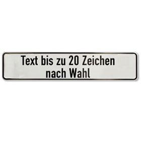 Parkplatzschild mit max. 20 Zeichen Text nach Wahl