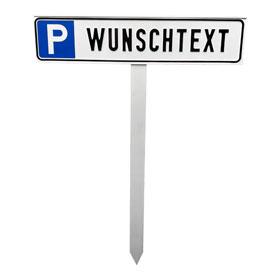 Parkplatzschild plus Einschlagpfosten (90.5543) Symbol: P, mit max. 20 Zeichen Text nach Wahl
