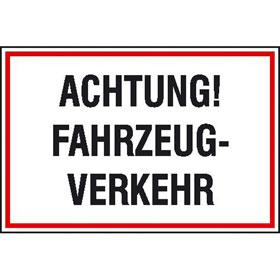 Hinweisschild zur Baustellenkennzeichnung Achtung! Fahrzeug-Verkehr