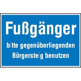Hinweisschild zur Baustellenkennzeichnung Fußgänger