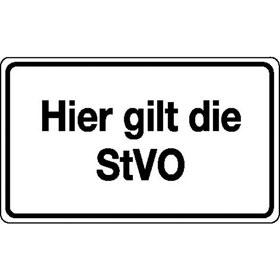 Verkehrsschild - Betriebskennzeichnung Hier gilt die StVO