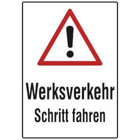 Verkehrsschild - Betriebskennzeichnung Werksverkehr Schritt fahren