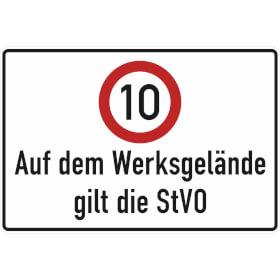 Verkehrsschild - Betriebskennzeichnung Auf dem Werksgelände gilt die StVO