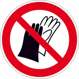 Verbotsschild auf Bogen Benutzen von Handschuhen verboten