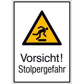 Warn-Kombischild Vorsicht! Stolpergefahr