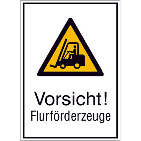 Warn-Kombischild Vorsicht! Flurförderzeuge