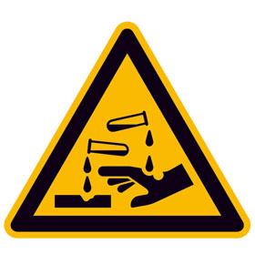Warnschild auf Bogen Warnung vor ätzenden Stoffen