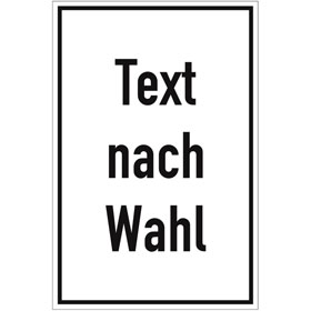 Folienschild, mit Text nach Wahl Grundfarbe weiß, Schrift schwarz,