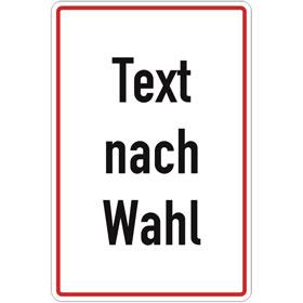 Aluminiumschild, mit Text nach Wahl Grundfarbe weiß, Schrift schwarz Rand rot, Ecken rund,